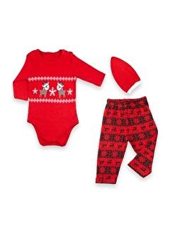 Vip Bebe Vipbebe Geyik Baskılı Çıtçıtlı Body, Yeni Yıl Tema Baskılı Pantolon ile Kırmızı şapkalı Bebek Seti